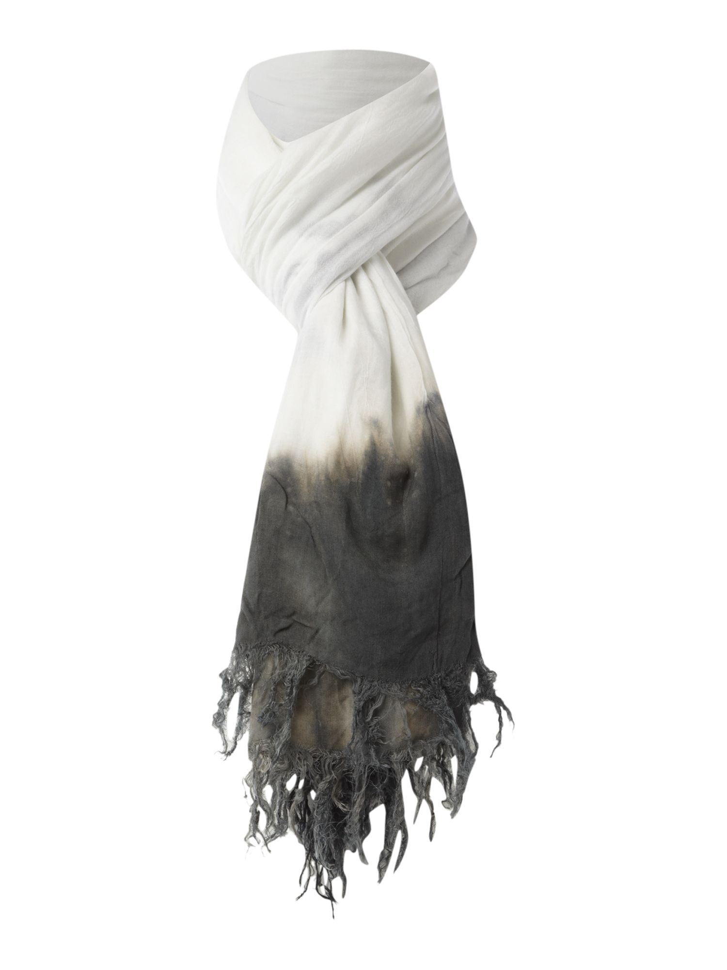 Tropical Tie Dye Scarf, Grey - predominant colour: charcoal; style: regular; size: standard; material: fabric; embellishment: tassels; pattern: tie dye, two-tone
