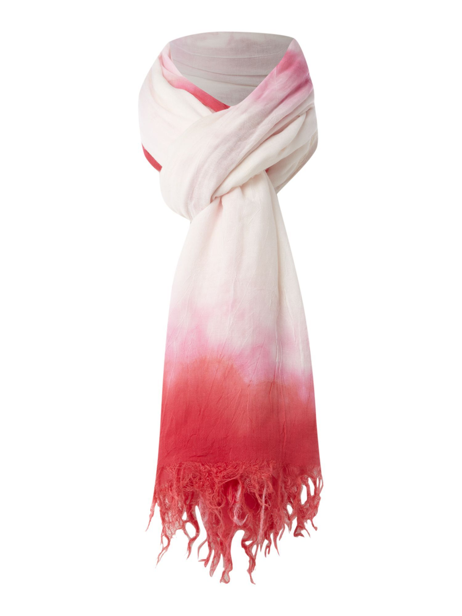 Tropical Tie Dye Scarf, Pink - predominant colour: coral; style: regular; size: standard; material: fabric; embellishment: tassels; pattern: tie dye, two-tone