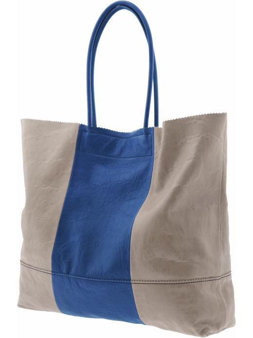 Leather Market Tote - predominant colour: stone; style: shoulder; length: shoulder (tucks under arm); size: oversized; material: leather; pattern: two-tone