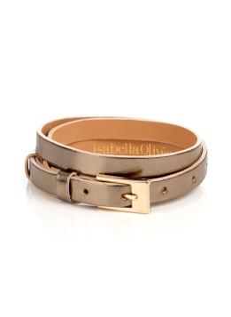 Essential Skinny Belt - predominant colour: champagne; style: classic; size: skinny; worn on: waist; material: leather; pattern: metallic, plain; finish: metallic