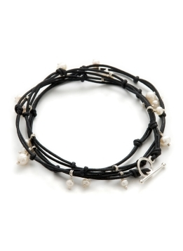 Double Cotton Multi Layered Bracelet - predominant colour: black; style: friendship bracelet; size: small; material: pearl; embellishment: pearls