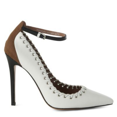 Jw Anderson Weatherbee Eyelet Courts - predominant colour: white; material: leather; heel height: high; embellishment: buckles; ankle detail: ankle strap; heel: stiletto; toe: pointed toe; style: courts