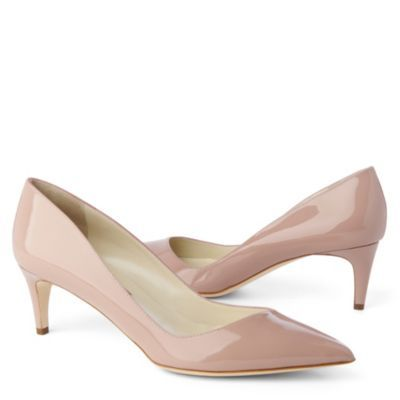Nym Courts - predominant colour: nude; material: patent; heel height: mid; heel: kitten; toe: pointed toe; style: courts; finish: patent