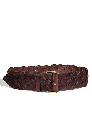 Brown Interlaced Leather Belt - predominant colour: chocolate brown; style: plaited/woven; size: standard; worn on: waist; material: fabric; embellishment: pleated; pattern: plain