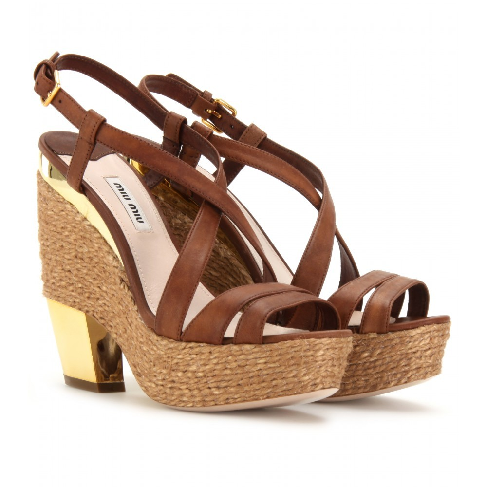 Espadrille Detailed Leather Platform Sandals - predominant colour: tan; material: leather; heel height: high; heel: platform; toe: open toe/peeptoe; style: strappy