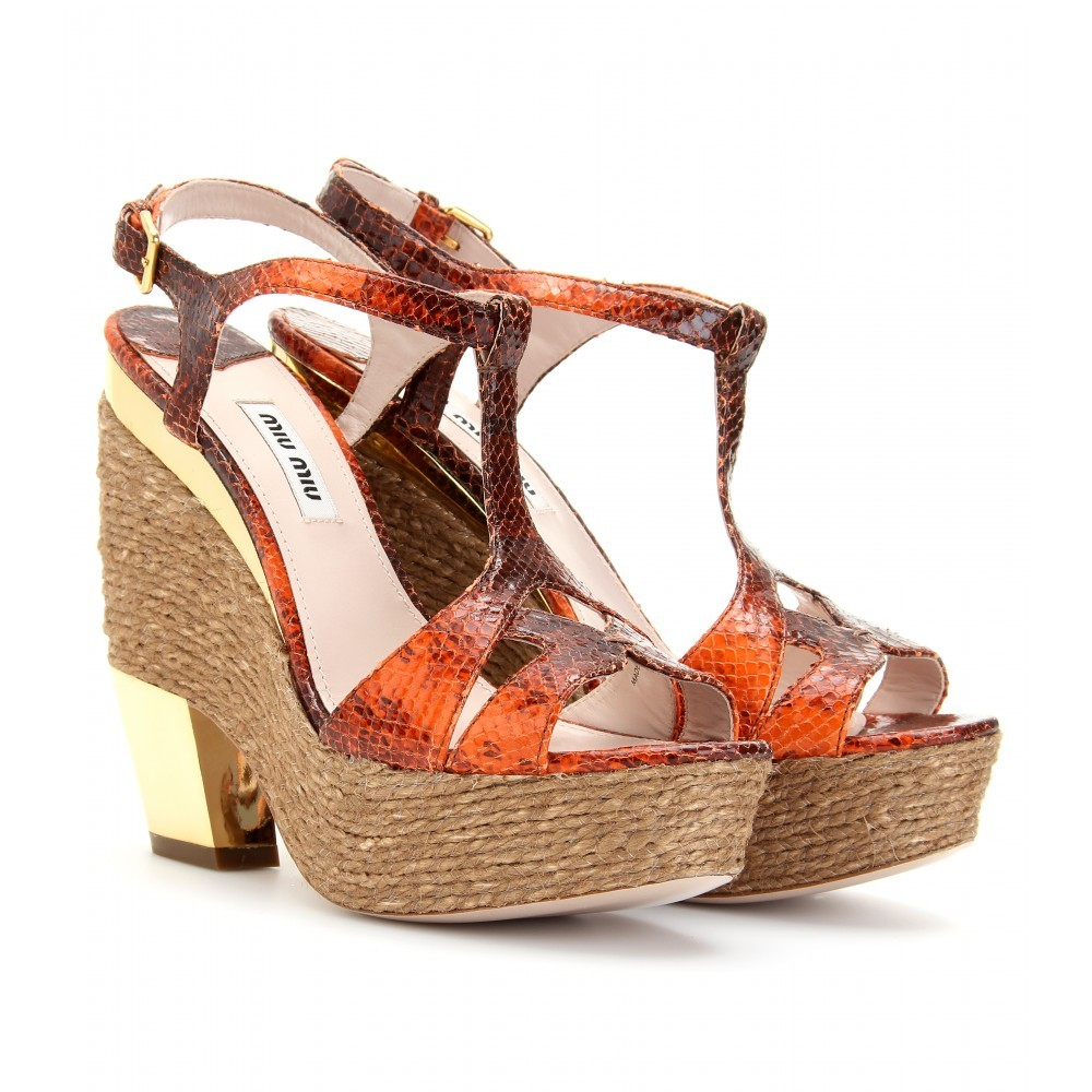 Espadrille Detailed Leather Platform Sandals - predominant colour: multicoloured; material: leather; heel height: high; embellishment: print; ankle detail: ankle strap; heel: platform; toe: open toe/peeptoe; style: standard; pattern: patterned/print