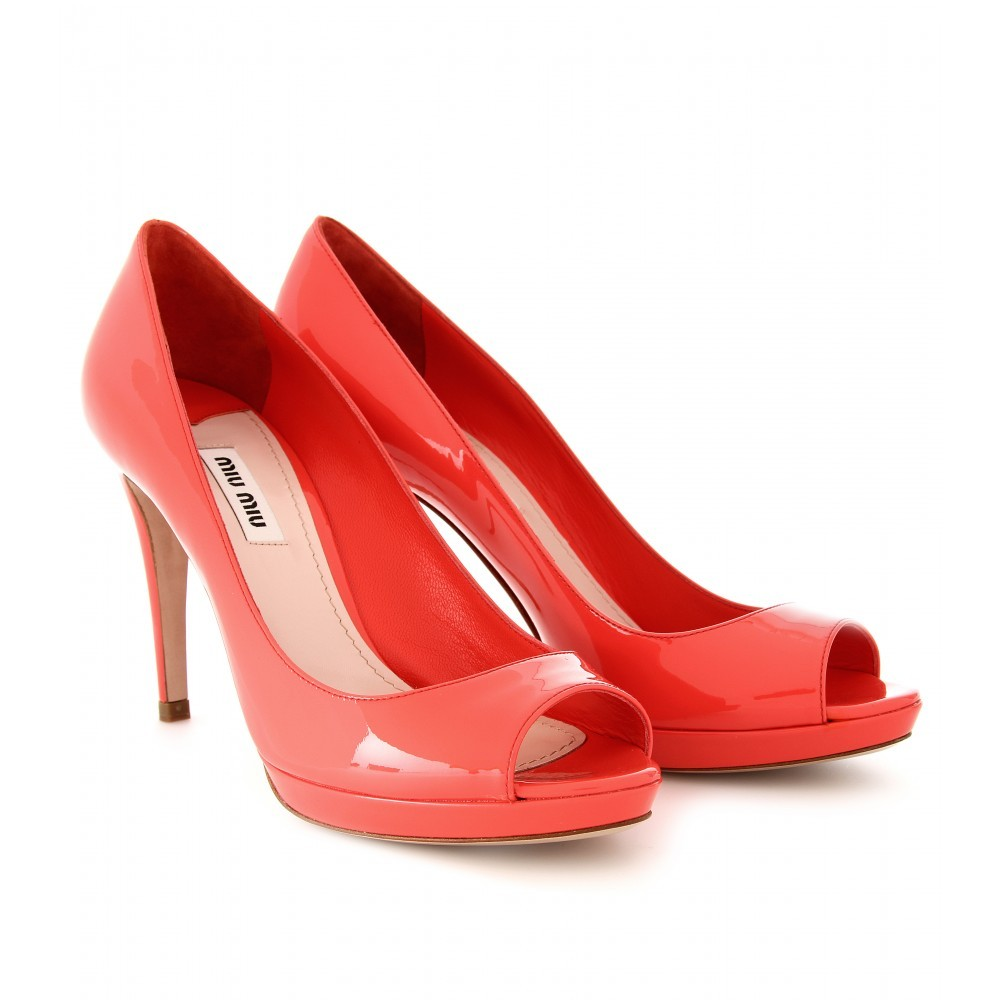 Patent Leather Peep Toe Pumps - predominant colour: coral; material: patent; heel height: high; heel: stiletto; toe: open toe/peeptoe; style: courts; finish: patent