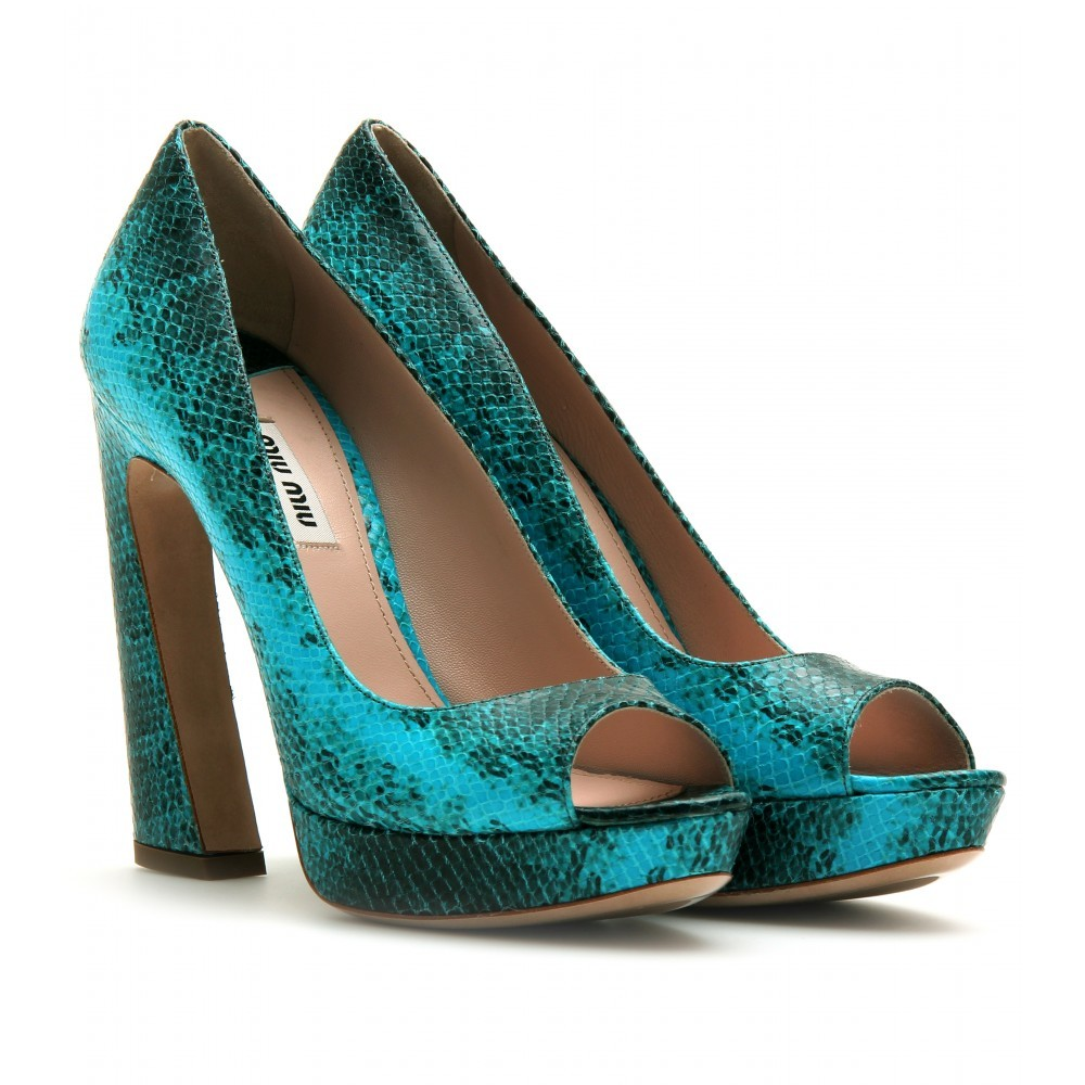 Ayers Embossed Peep Toe Pumps - predominant colour: turquoise; material: leather; heel height: high; embellishment: animal print, print; heel: block; toe: open toe/peeptoe; style: courts; pattern: animal print, patterned/print