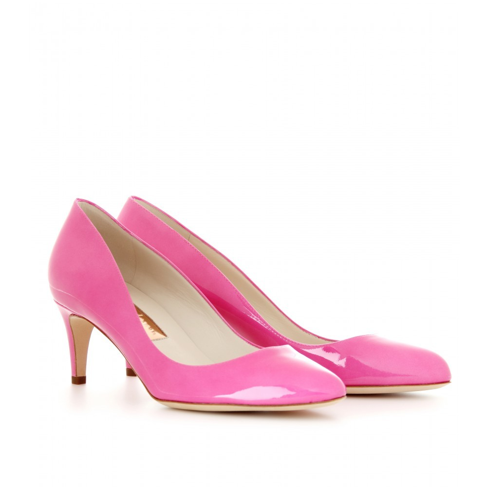 Stella Patent Leather Pumps - predominant colour: pink; material: leather; heel height: mid; heel: kitten; toe: pointed toe; style: courts