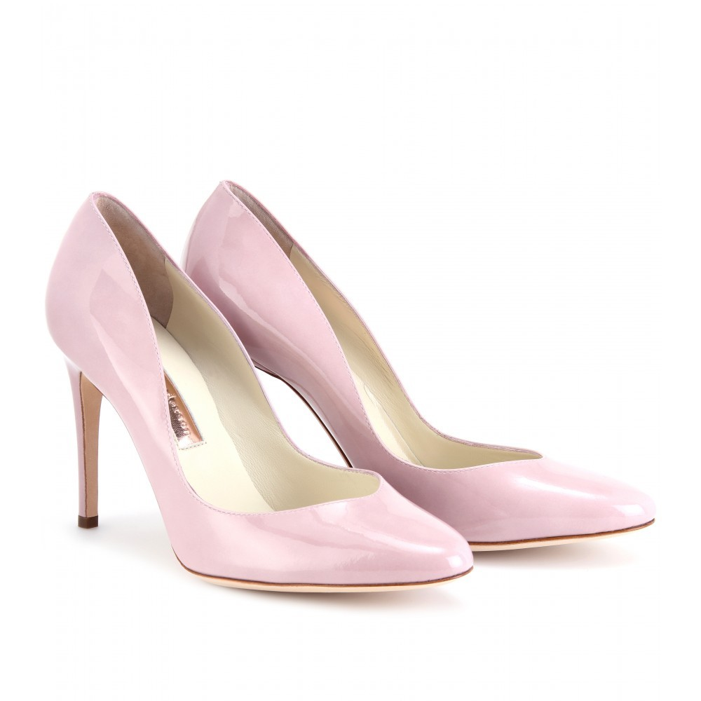 Winona Patent Leather Pumps - predominant colour: blush; material: leather; heel height: high; heel: stiletto; toe: pointed toe; style: courts