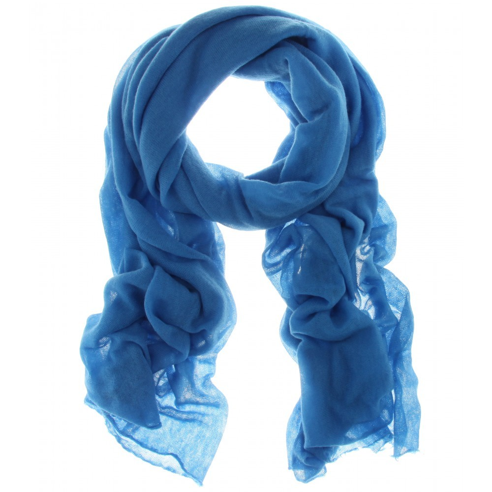 Cashmere Scarf - predominant colour: royal blue; style: regular; size: standard; material: knits; pattern: plain