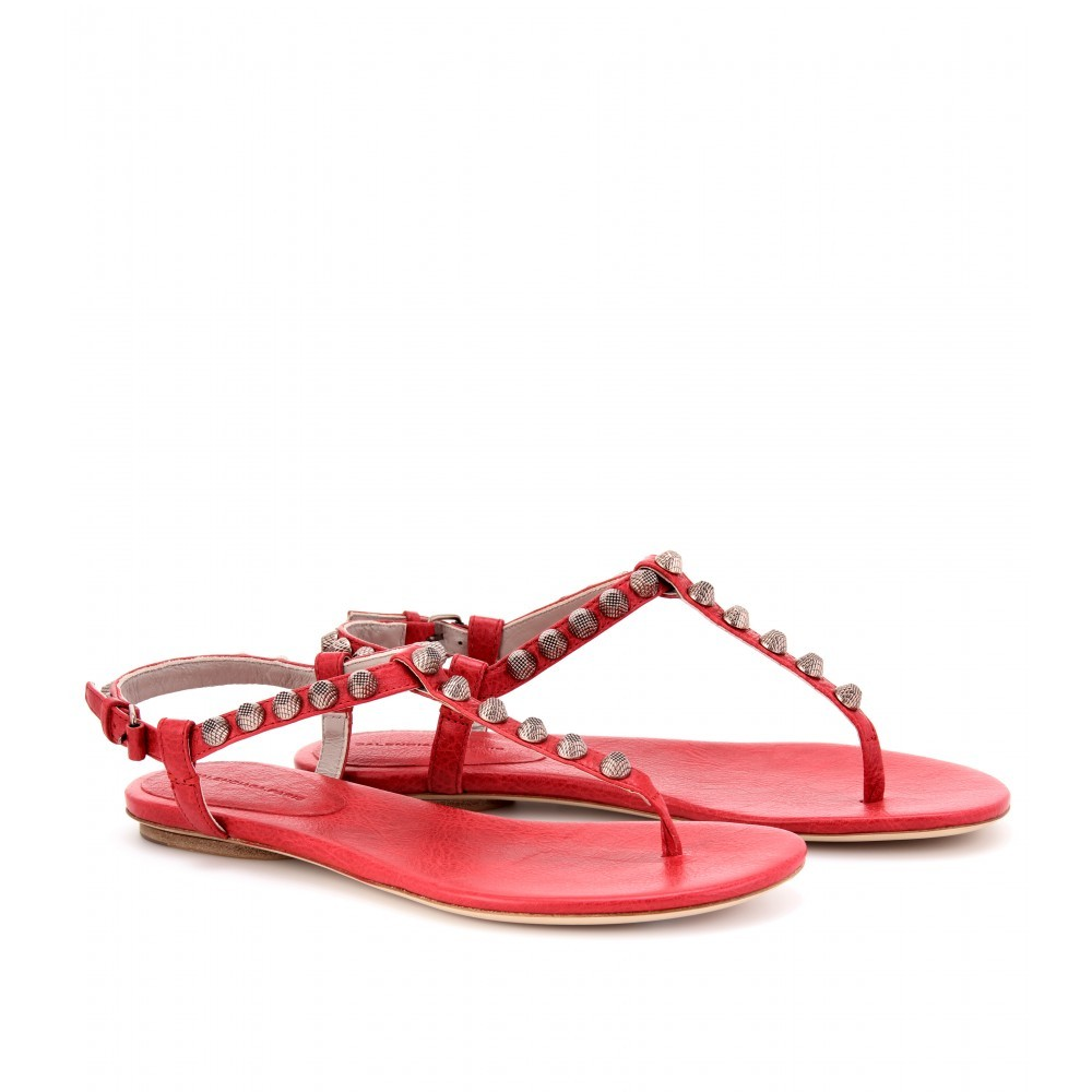 Giant Studded Leather Sandals - predominant colour: coral; material: leather; heel height: flat; embellishment: studs; ankle detail: ankle strap; heel: standard; toe: open toe/peeptoe; style: flip flops / toe post