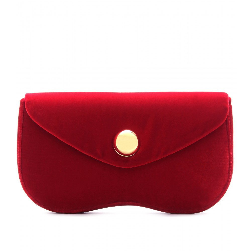 Velvet Clutch - predominant colour: true red; style: clutch; length: hand carry; size: small; material: velvet