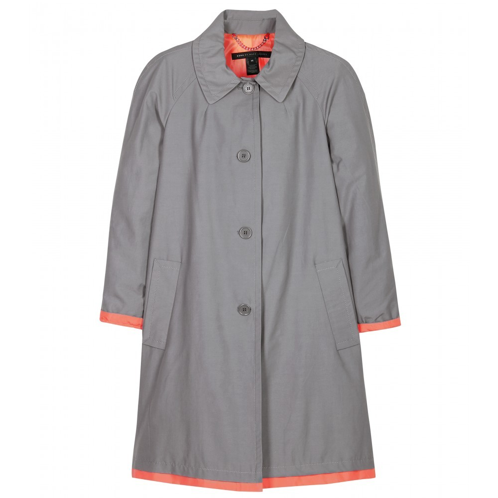 Brice Pea Coat With Contrast Trim - pattern: plain; hip detail: side pockets at hip; collar: round collar/collarless; style: pea coat; length: mid thigh; predominant colour: mid grey; occasions: casual; fit: tailored/fitted; fibres: cotton - mix; sleeve length: long sleeve; sleeve style: standard; collar break: high; pattern type: fabric; pattern size: standard