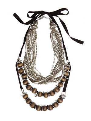 Ardenne Dual Strand Necklace - predominant colour: chocolate brown; style: multistrand; length: mid; size: standard; material: beaded; embellishment: beading