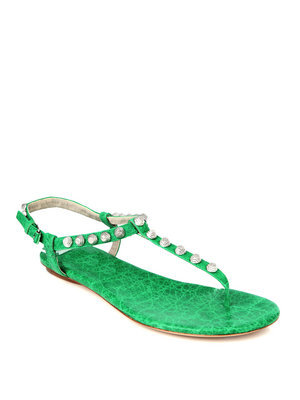 Arena Sandals - predominant colour: emerald green; material: leather; heel height: flat; embellishment: beading; ankle detail: ankle strap; heel: standard; toe: toe thongs; style: strappy