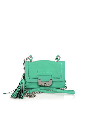 Mini Harper Bag - predominant colour: emerald green; style: messenger; length: across body/long; size: small; material: leather; embellishment: tassels; pattern: plain