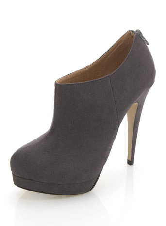 Benji Grey Shoe Boot - predominant colour: charcoal; material: suede; heel height: high; heel: stiletto; toe: round toe; boot length: shoe boot; style: standard