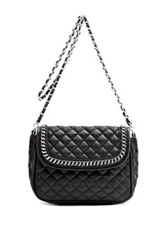 Handbag P.. Chany6 C - predominant colour: black; style: shoulder; length: shoulder (tucks under arm); size: small; material: faux leather; embellishment: quilted; pattern: plain