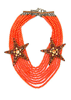 Necklace 1 Star T C - predominant colour: bright orange; style: multistrand; length: choker; size: large/oversized; material: beaded; embellishment: beading