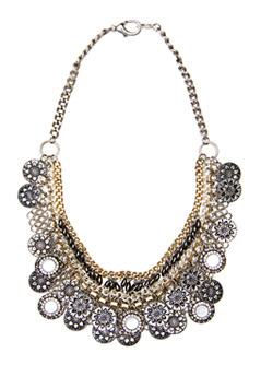 Necklace 2 Star T C - predominant colour: multicoloured; style: bib; length: mid; size: large/oversized; material: chain/metal