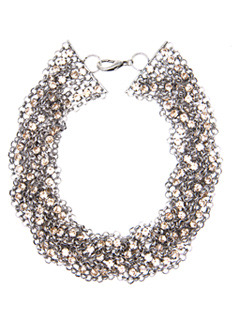Necklace 1 Fluor T C - predominant colour: white; style: multistrand; length: choker; size: large/oversized; material: beaded; embellishment: beading