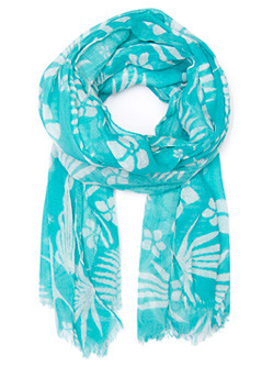 Foulard Tropic T C - predominant colour: turquoise; type of pattern: light; style: regular; size: standard; material: fabric; pattern: abstract, patterned/print