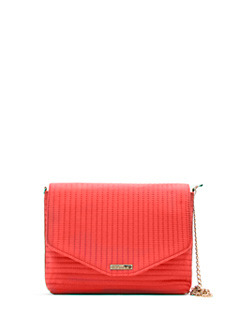 Handbag M.. Paralel Tc - predominant colour: coral; style: messenger; length: across body/long; size: small; material: fabric; embellishment: quilted; pattern: plain