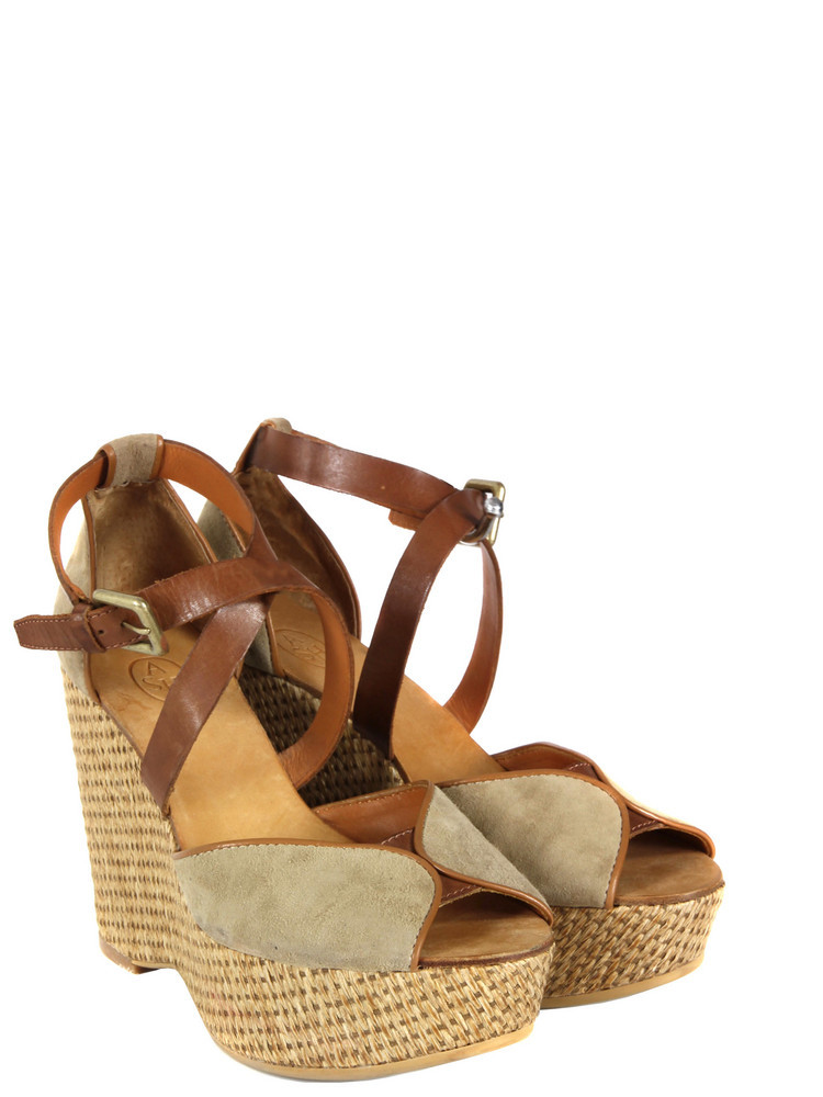 Parasol Nocciola & Camel Shoes - predominant colour: camel; material: suede; heel height: high; embellishment: buckles; ankle detail: ankle strap; heel: wedge; toe: open toe/peeptoe; style: strappy