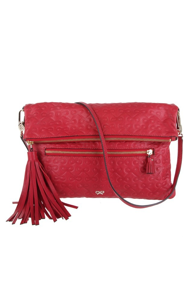 Maeve Clutch Soft Calf Red - predominant colour: true red; type of pattern: light; style: clutch; length: hand carry; size: small; material: leather; embellishment: tassels, zips; pattern: abstract, patterned/print