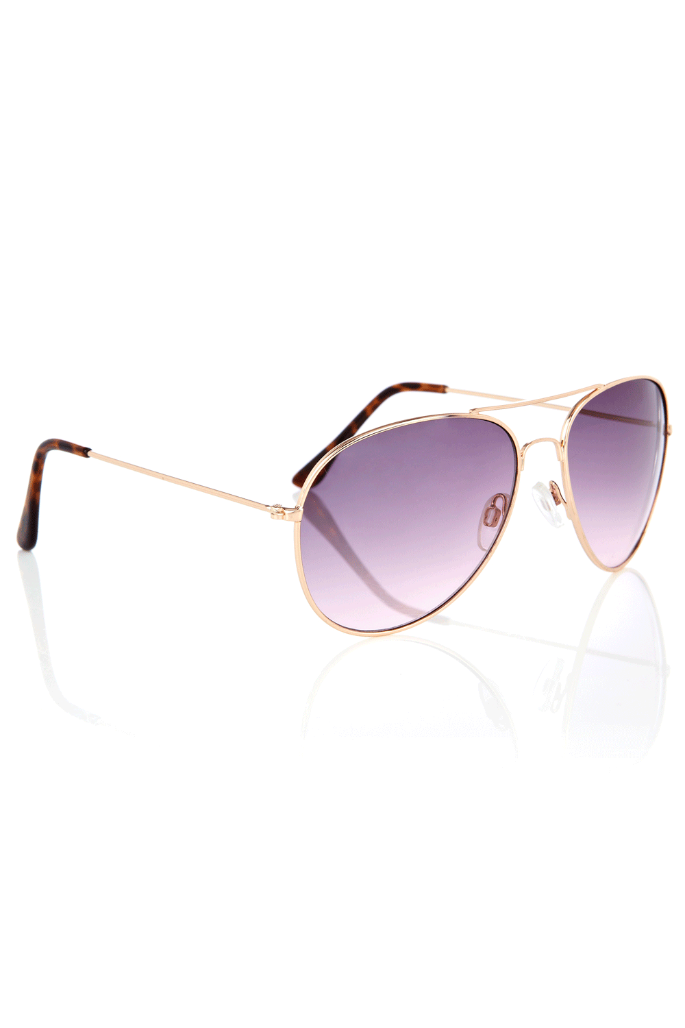 Basic Aviator Sunglasses - predominant colour: gold; style: aviator; size: standard; material: chain/metal; pattern: plain, tortoiseshell, two-tone