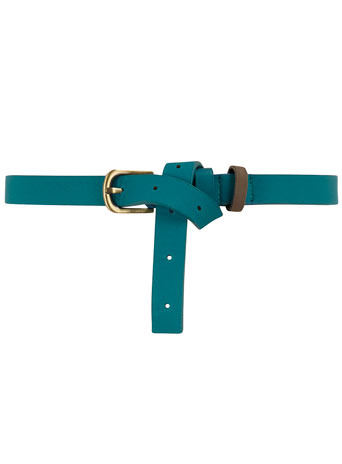 Teal Triple Keeper Belt - predominant colour: teal; style: classic; size: skinny; worn on: waist; material: faux leather; pattern: plain
