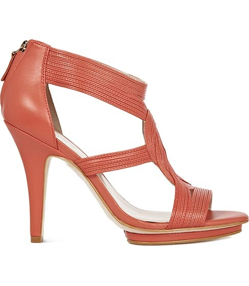 Lottie Strap Detail High Sandal - predominant colour: coral; material: leather; heel height: high; embellishment: zips; ankle detail: ankle strap; heel: stiletto; toe: open toe/peeptoe; style: courts