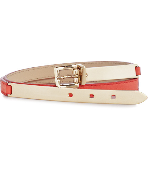 Evelyn Metal Buckle Front Belt - predominant colour: coral; type of pattern: small; style: classic; size: skinny; worn on: hips; material: leather; pattern: two-tone