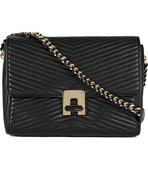 Romeo Quilted Chain Shoulder Bag - predominant colour: black; type of pattern: standard; style: shoulder; length: across body/long; size: small; material: leather; embellishment: quilted; pattern: plain