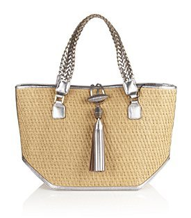 Iman Straw Basket Tote - predominant colour: camel; style: tote; length: shoulder (tucks under arm); size: standard; material: macrame/raffia/straw; embellishment: tassels