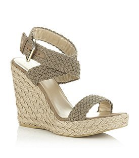 Alex Woven Wedge - predominant colour: taupe; material: fabric; heel height: high; ankle detail: ankle strap; heel: wedge; toe: open toe/peeptoe; style: strappy