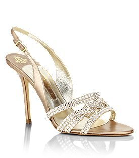 Allium Sandal - predominant colour: champagne; material: leather; heel height: high; embellishment: buckles, crystals, jewels; ankle detail: ankle strap; heel: stiletto; toe: open toe/peeptoe; style: slingbacks
