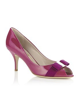 Ribes Patent Peep Toe - predominant colour: hot pink; material: patent; heel height: mid; heel: stiletto; toe: open toe/peeptoe; style: courts; finish: patent