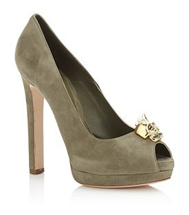 Map Suede Peep Toe - predominant colour: sage; material: suede; heel height: high; embellishment: crystals; heel: platform; toe: open toe/peeptoe; style: courts
