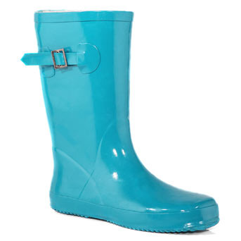 Turquoise Low Wellies - predominant colour: turquoise; material: plastic/rubber; heel height: flat; embellishment: buckles; heel: standard; toe: round toe; boot length: mid calf; style: wellies