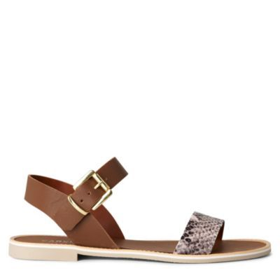 Kook Flat Sandals - predominant colour: tan; material: leather; heel height: flat; embellishment: animal print, buckles; ankle detail: ankle strap; heel: standard; toe: open toe/peeptoe; style: strappy; pattern: animal print