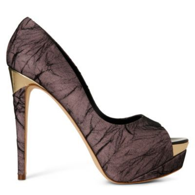 Hydra Platform Courts - predominant colour: black; material: fabric; heel height: high; embellishment: print; heel: platform; toe: open toe/peeptoe; style: courts; pattern: patterned/print