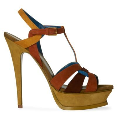 Tribute Suede Platform Sandals - predominant colour: multicoloured; material: suede; heel height: high; ankle detail: ankle strap; heel: platform; toe: open toe/peeptoe; style: strappy