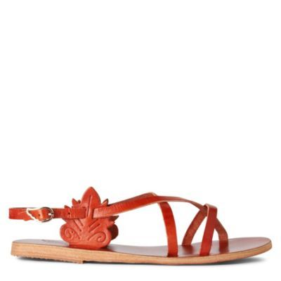 Athena Flat Sandals - predominant colour: bright orange; material: leather; heel height: flat; ankle detail: ankle strap; heel: standard; toe: toe thongs; style: gladiators