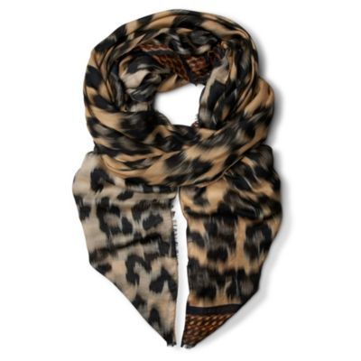 Leopard Print Modal And Cashmere Blend Scarf - predominant colour: multicoloured; type of pattern: heavy; style: pashmina; size: large; material: fabric; pattern: animal print