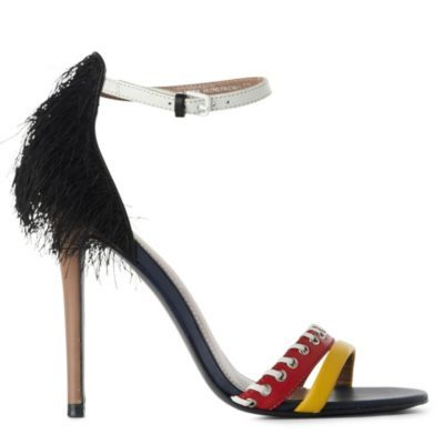 Jw Anderson Eakins Colour Block Sandals - predominant colour: multicoloured; material: leather; heel height: high; embellishment: feathers; ankle detail: ankle strap; heel: stiletto; toe: open toe/peeptoe; style: standard
