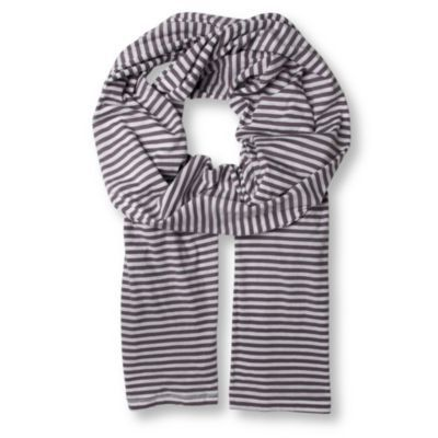 Striped Scarf - predominant colour: charcoal; type of pattern: small; style: regular; size: standard; material: fabric; pattern: horizontal stripes