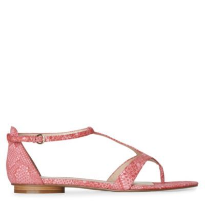 Couldbeluv Reptile Print Sandals - predominant colour: pink; material: leather; heel height: flat; embellishment: animal print; ankle detail: ankle strap; heel: standard; toe: toe thongs; style: strappy; pattern: animal print