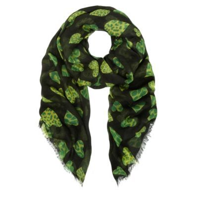 Leopard Hearts Print Scarf - predominant colour: emerald green; type of pattern: standard; style: regular; size: standard; material: fabric; pattern: animal print, picture design, patterned/print